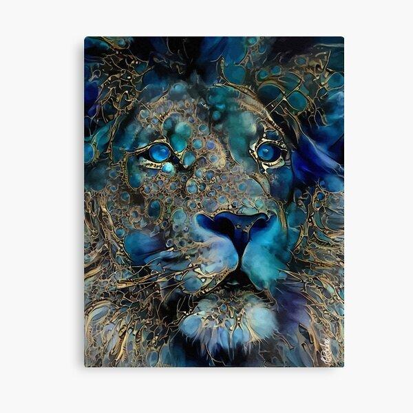 blue rey, lion, leon, animal wild, léa roche paintings Canvas Print