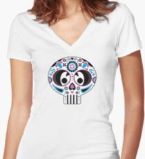 Mexican 'Day of the Dead' Skull Women's Fitted V-Neck T-Shirt