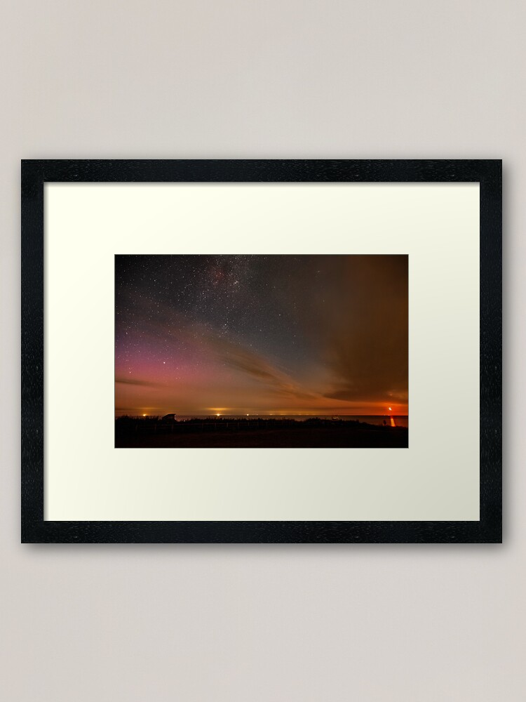 Alternate view of Happisburgh - Milky Way with rising Moon & Northern Lights Framed Art Print