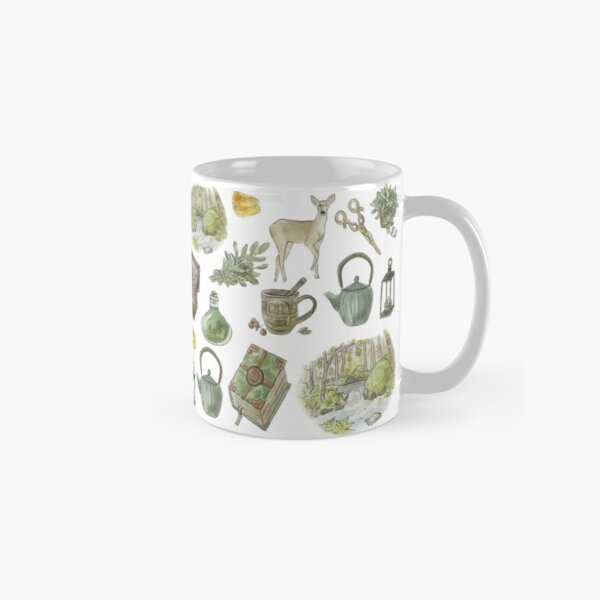Green Witch Pattern - Wrap Around with White Background Classic Mug