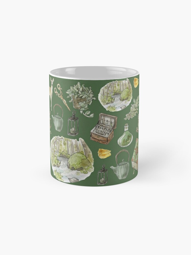 Alternate view of Green Witch Pattern - Wrap Around with Green Background Mug