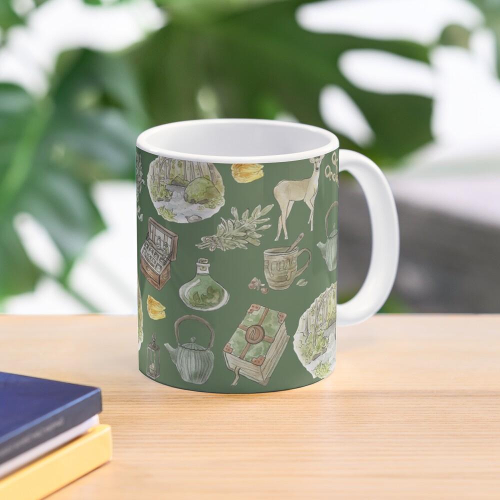 Green Witch Pattern - Wrap Around with Green Background Mug