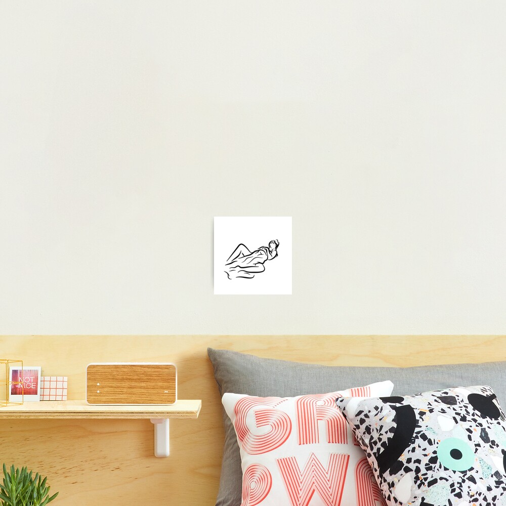 Lady with Blanket Minimalist Line Drawing Photographic Print