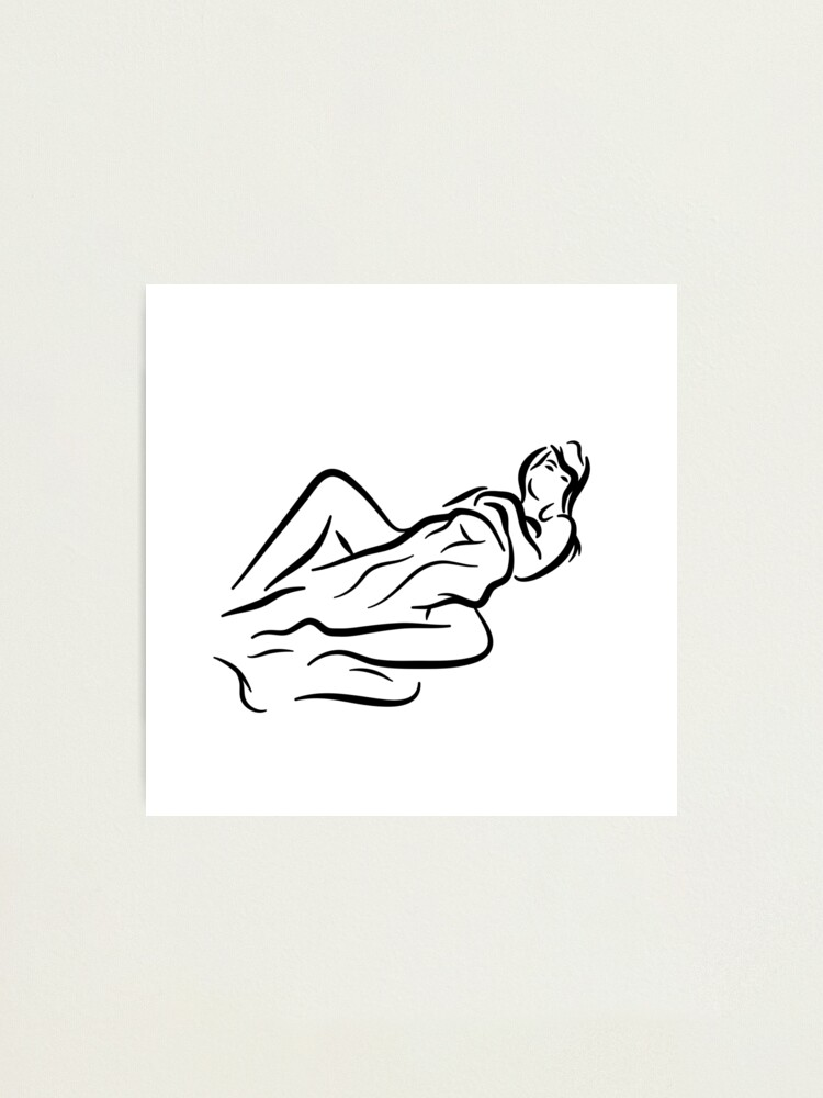 Alternate view of Lady with Blanket Minimalist Line Drawing Photographic Print