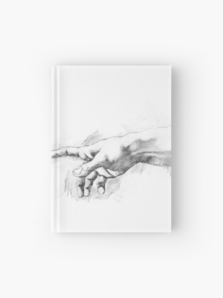 pencil drawing hand of creation adam hardcover journal by onicon redbubble