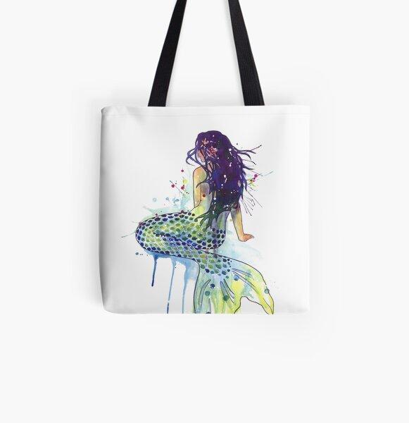 Mermaid All Over Print Tote Bag