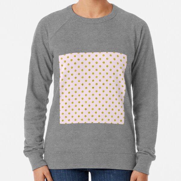 Golden Polka Dots on Pale Pink Background Lightweight Sweatshirt