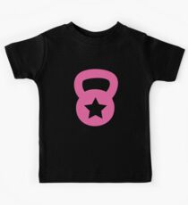 Pink Kettlebell With A Star Kids Tee