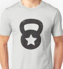 Black Grungy Kettlebell With A Star Slim Fit T-Shirt