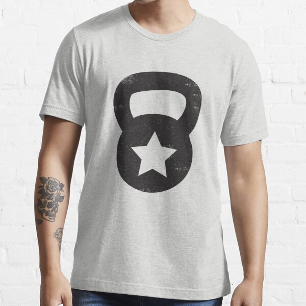 Black Grungy Kettlebell With A Star Essential T-Shirt