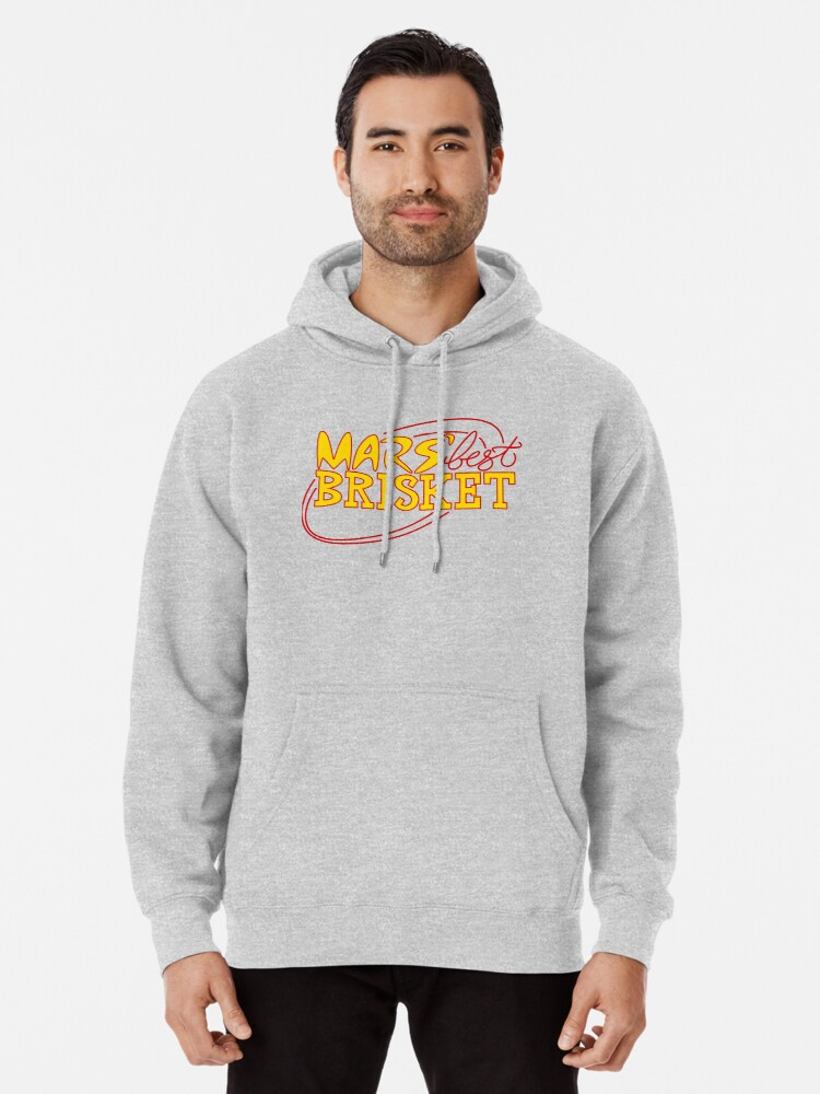 Alternate view of Mars' Best Brisket Official Crew Member (Yellow) Pullover Hoodie