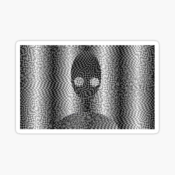 Optical Illusion Fractal Pattern | Black and White Psychedelic Nightmare Fractal Pattern Boho Aesthetic Gift Idea  Sticker