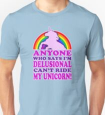 Funny Delusional Unicorn (Vintage Distressed Design) Unisex T-Shirt