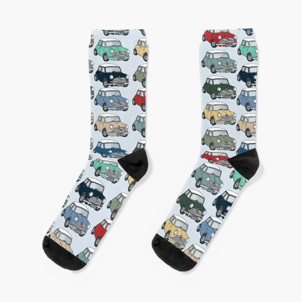 Mini Car Illustration Print Socks