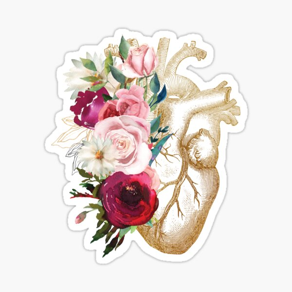 Heart Print With Vintage Flowers Glossy Sticker
