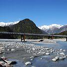 Glacial River and bridge, Franz Joseph Glacier, NZ by Catherine Davis