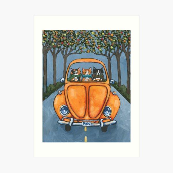 The Autumn Road Trip Cats Art Print