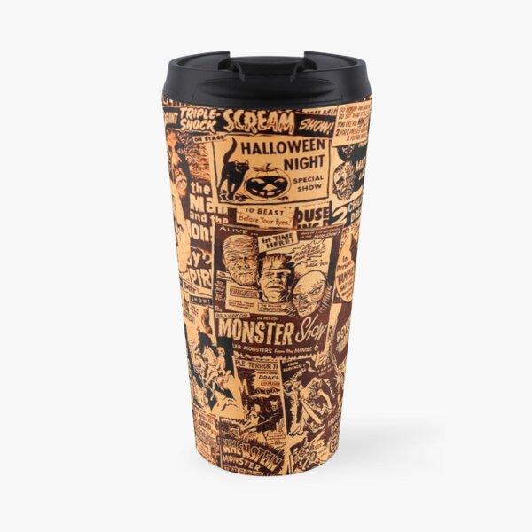 Old Horror Advertisement Pattern Travel Mug