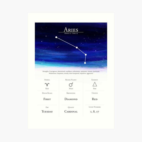 Aries   Star Sign and Zodiac Astrology Horoscope Art Print