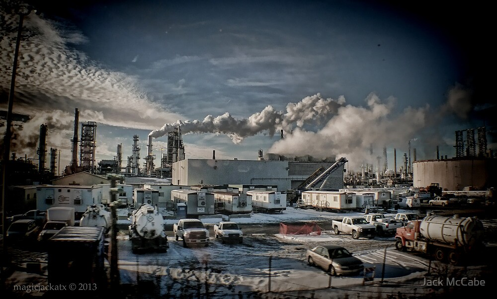 Afternoon view of a refinery - Ilinois  by Jack McCabe