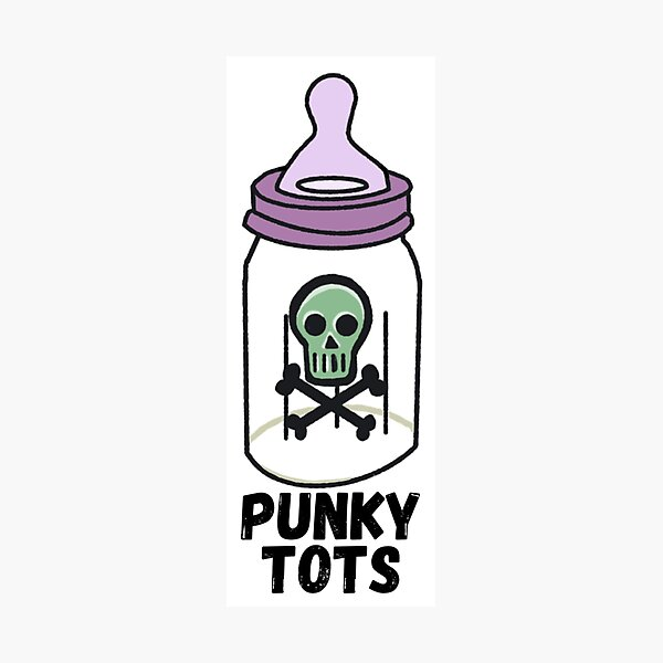 Punky Tots Skully Baby Bottle Photographic Print