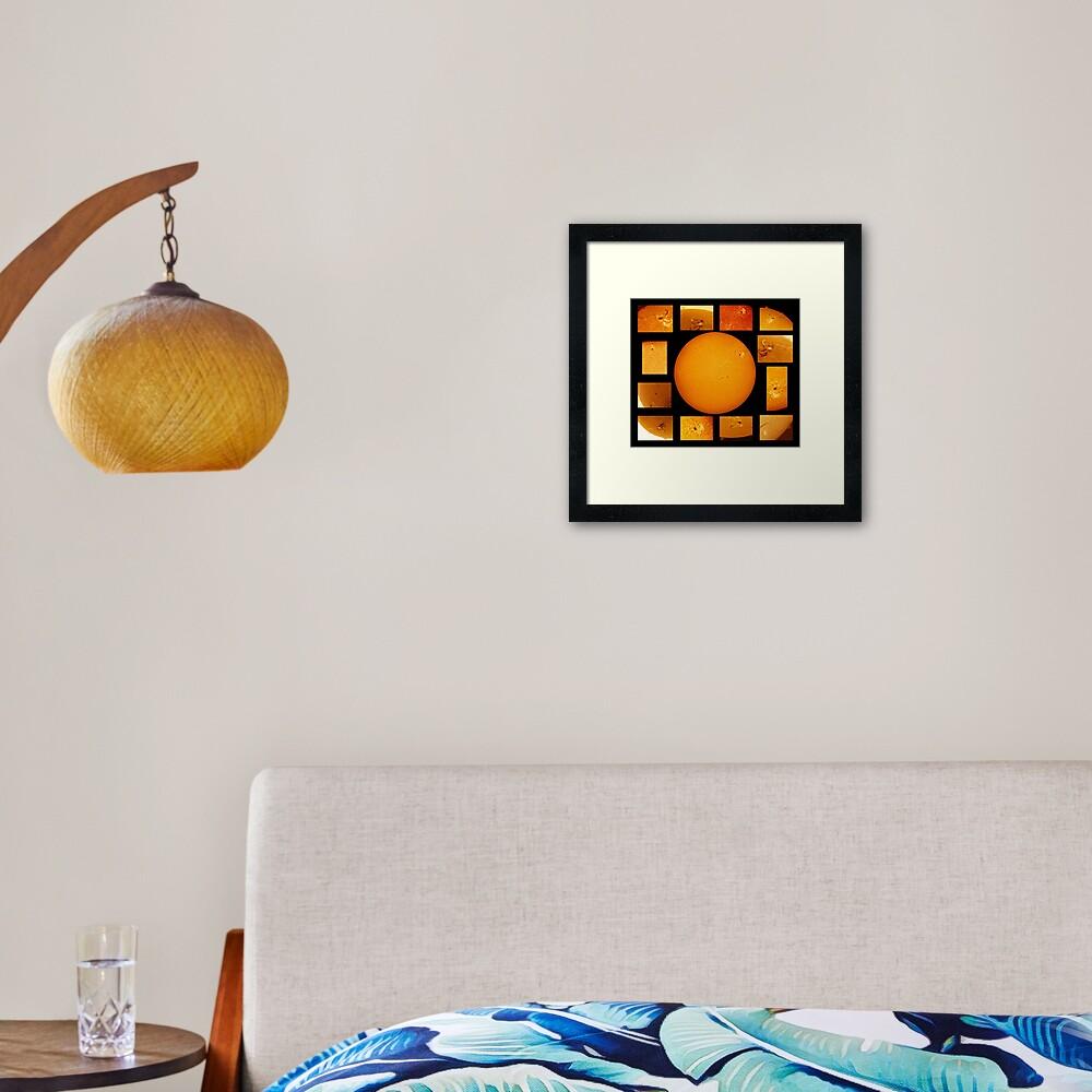 Sun mosaic in Hydrogen Alpha Framed Art Print