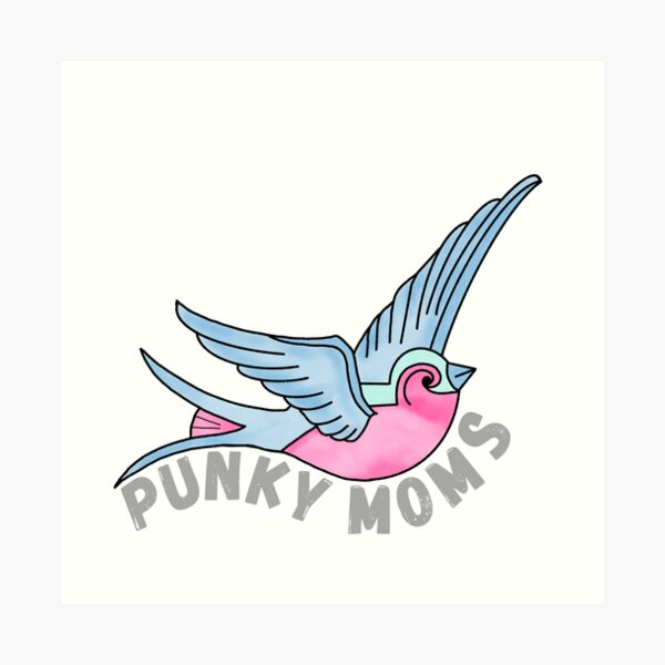 Pink & Blue Tattoo-Style Swallow  Art Print