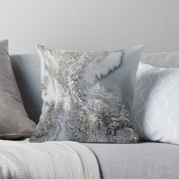 Grey and silver Marble Throw Pillow