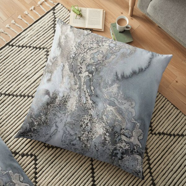 Grey and silver Marble Floor Pillow