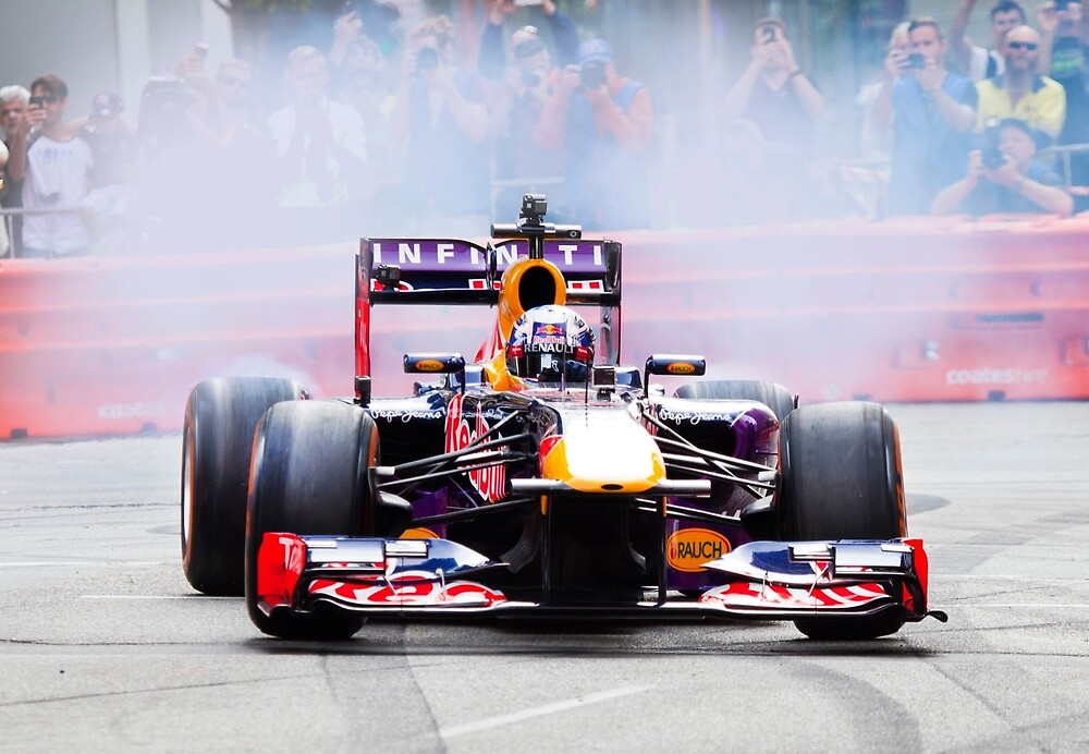 Daniel Ricciardo's F1 lights up the streets of Perth city in his Redbull race car by Marc Russo