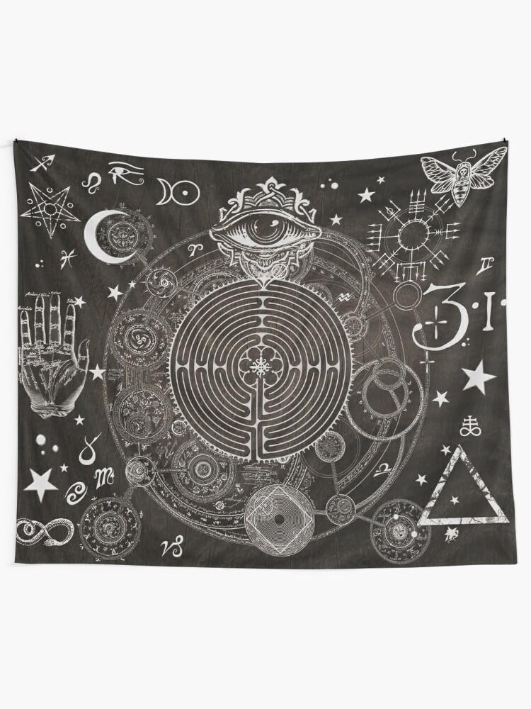 Alternate view of Magic Symbols for a Alchemist Dreamer Tapestry