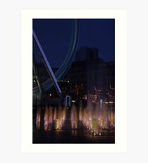 Fountain and big wheel. Art Print
