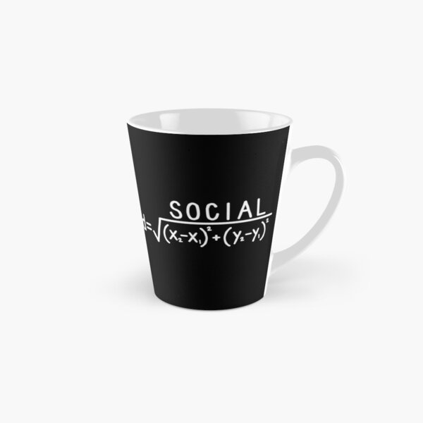 Social Distance (formula) Black and White Tall Mug