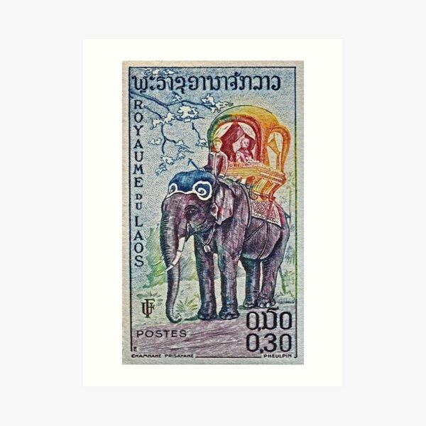1958 Laos Elephant Stamp Art Print