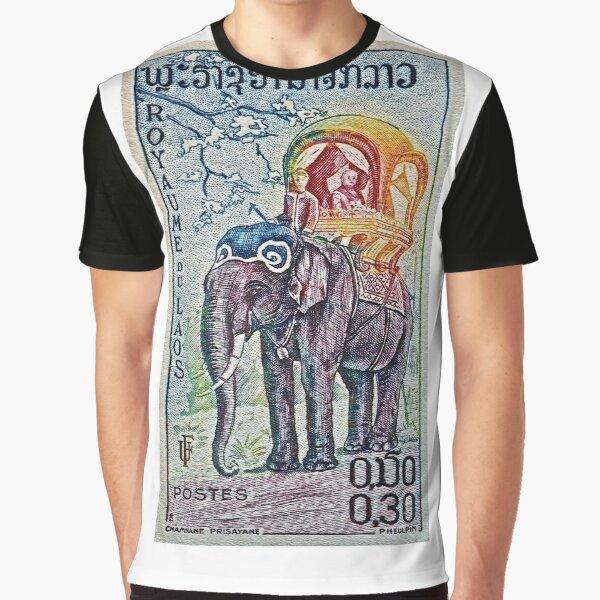1958 Laos Elephant Stamp Graphic T-Shirt
