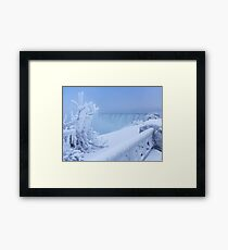 Covered with snow and ice Niagara Falls art photo print Framed Print