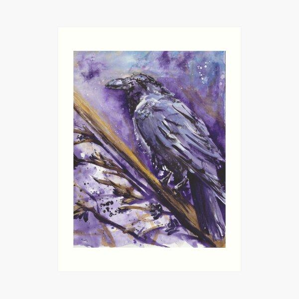 Mystic Raven Watercolor Print  Art Print