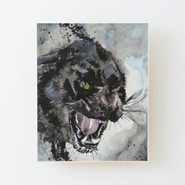 Angry Kitty Watercolor Print Wood Mounted Print