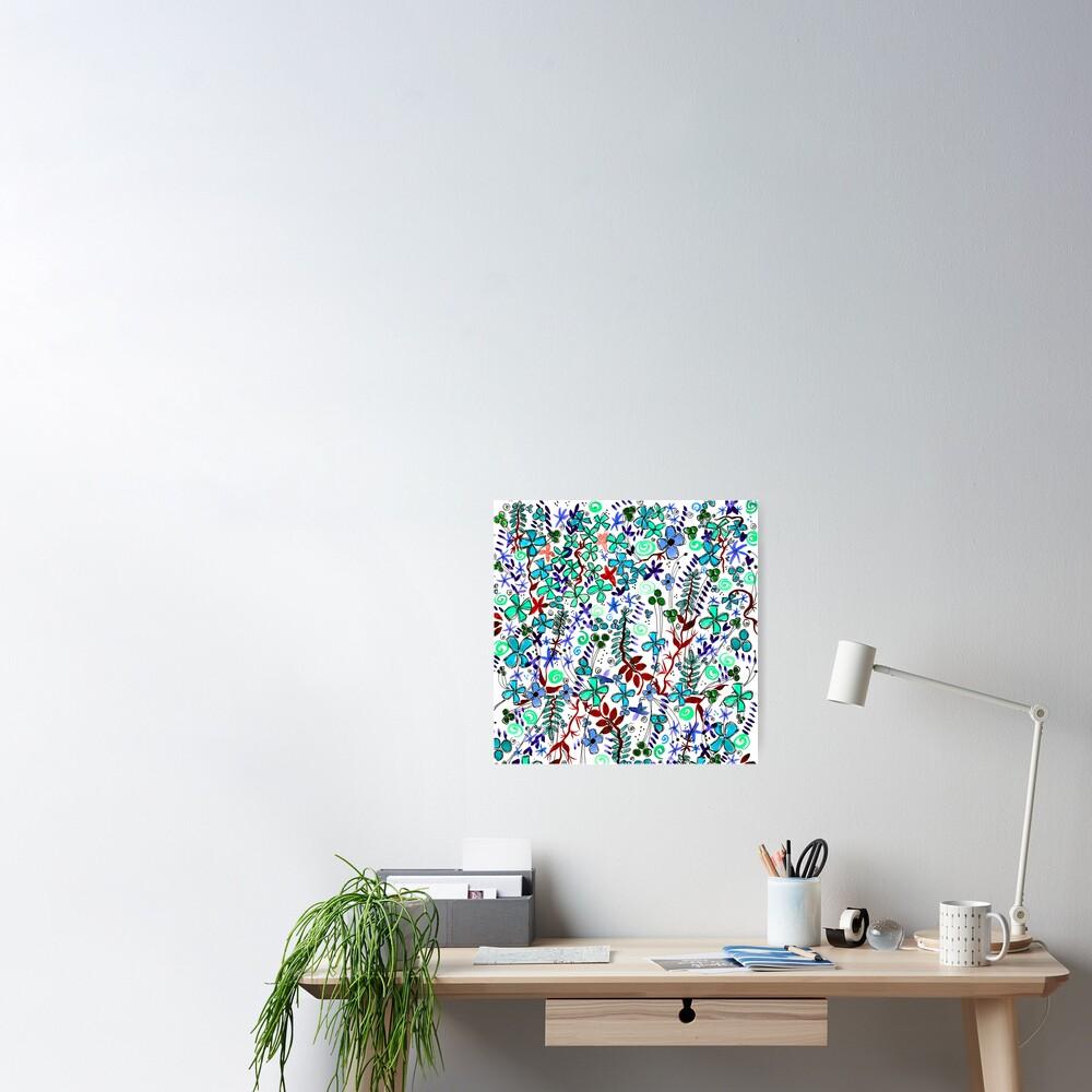 Pixel Dance Blue Poster
