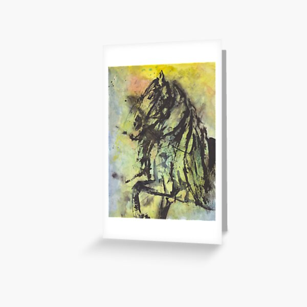 The Horse in Abstract Watercolor Greeting Card