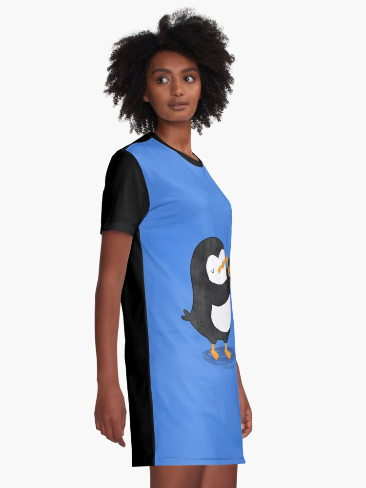 Alternate view of Steve Penguin playing a saxophone Graphic T-Shirt Dress