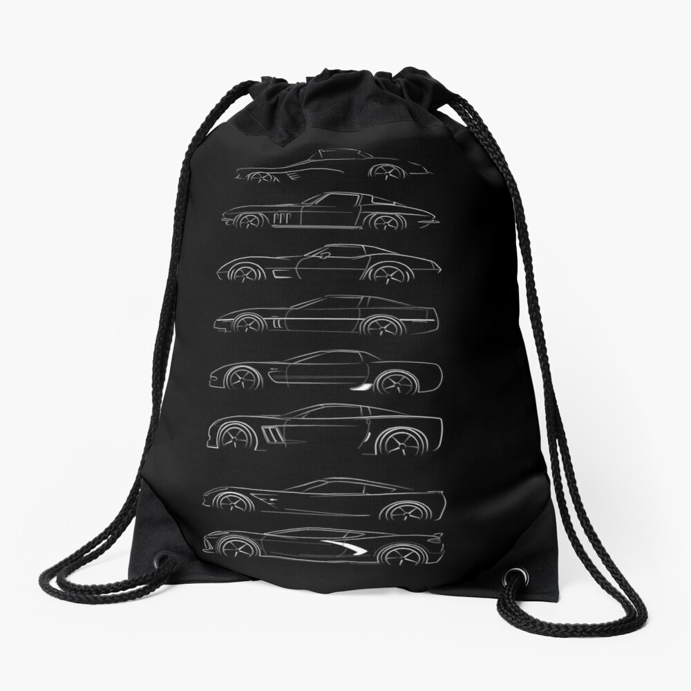 Evolution of the corvette - profile white Drawstring Bag