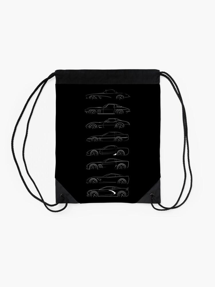 Alternate view of Evolution of the corvette - profile white Drawstring Bag