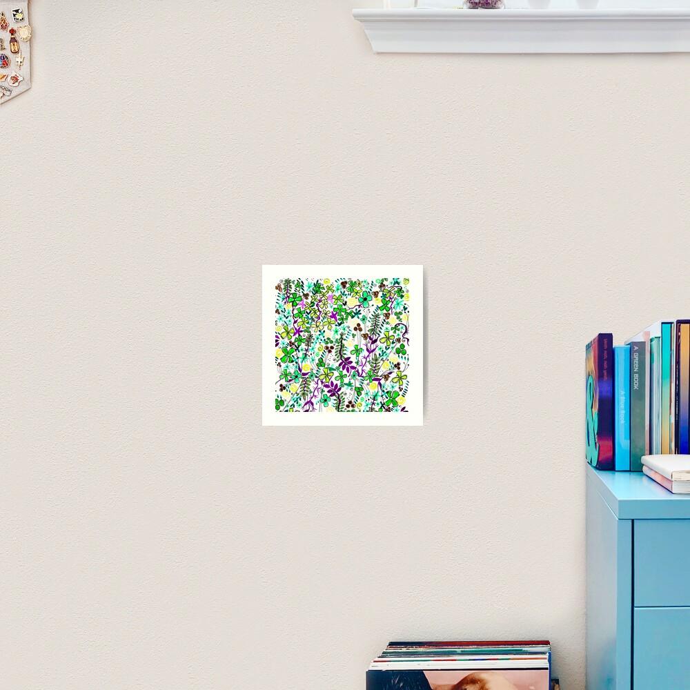 Pixel Dance Green Art Print