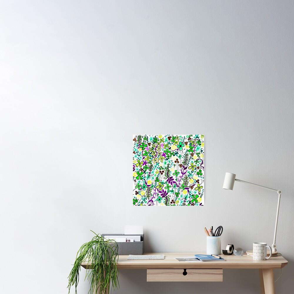 Pixel Dance Green Poster