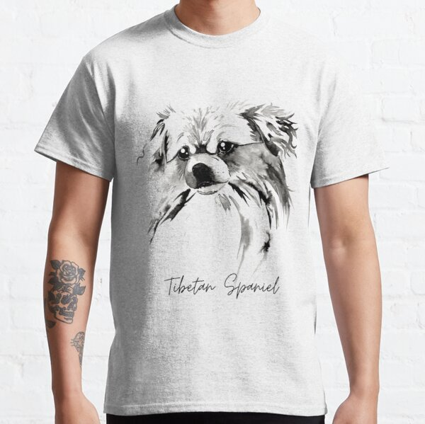 Beautiful Tibetan Spaniel Black and White Design with Title Classic T-Shirt
