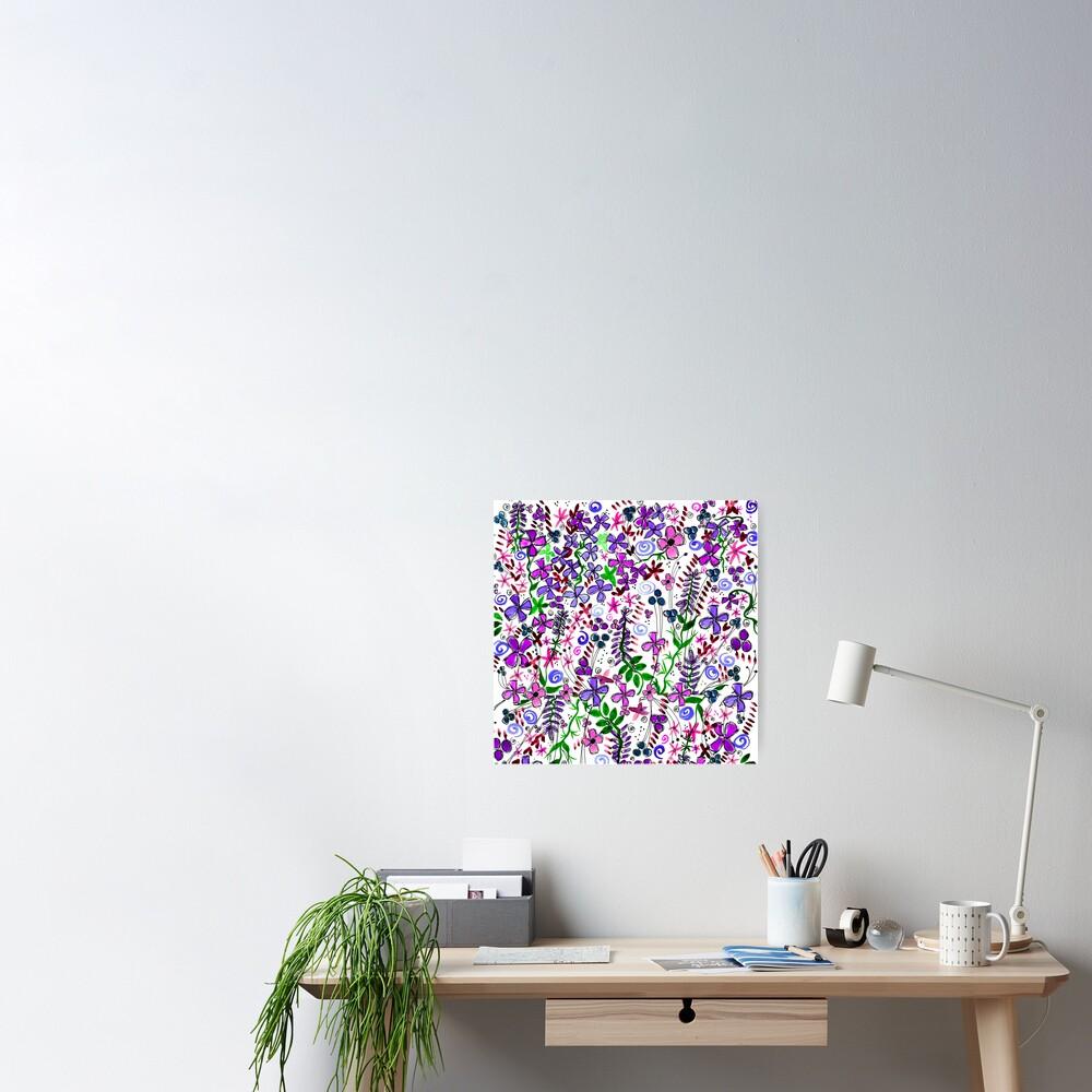 Pixel Dance Purple Poster