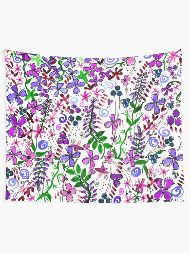 Alternate view of Pixel Dance Purple Tapestry