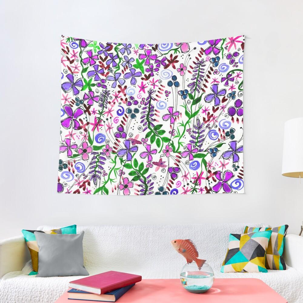 Pixel Dance Purple Tapestry