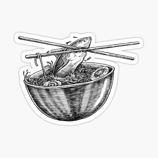 Shark Ramen Sticker